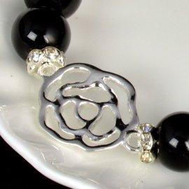 Bransoletka 72.12 Koraliki Cracle Czarne i srebrna róża