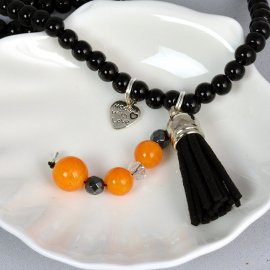 Naszyjnik Wisior 3 kamienie czarny pomarańcz 40