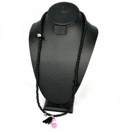 Naszyjnik Wisior 5 kamienie czarny różowe 40