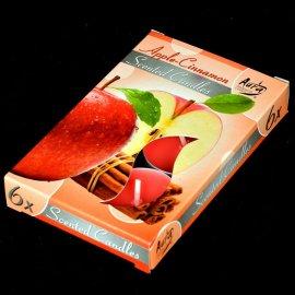 Świece zapachowe 6 sztuk Tealight Cynamon i jabłko 4h Bispol