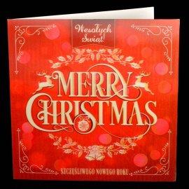 Kartka świąteczna Karnet 3D Czerwona Merry Christmas