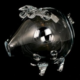 Szklana świnka skarbonka 14x16