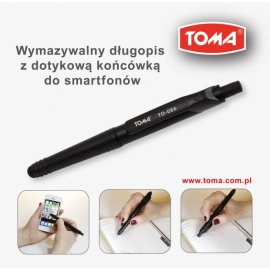 Długopis wymazywalny z końcówką do ekranów dotykowych Toma