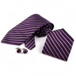 Krawat satynowy, chustka i spinki do mankietów