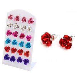 Kolczyki 1 para róże metalowe