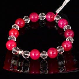 Bransoletka 10 Agat różowy i kryształki