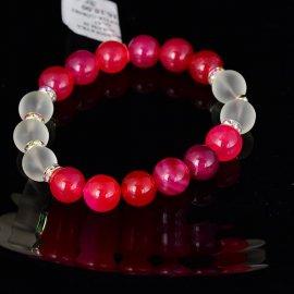 Bransoletka 10 Agat różowy i kryształ górski