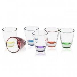 Kieliszki 6 szt. Baryłka 25ml Kolorowy Spód Mix Glasmark