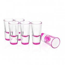 Kieliszki 6 szt. Lufa 25ml Kolorowy Spód Różowy Glasmark