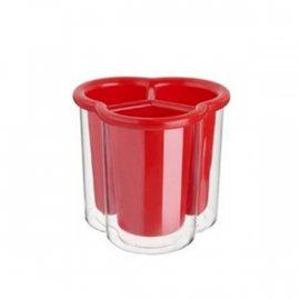 Ociekacz 3-komorowy na sztućce czerwony Confetti Tadar