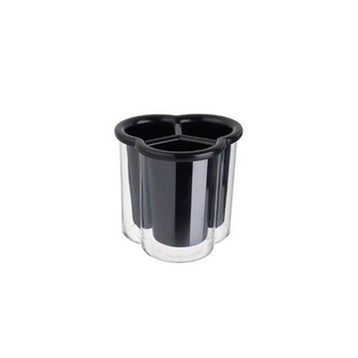 Ociekacz 3-komorowy na sztućce czarny Confetti Tadar