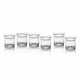 6 szt. Szklanki do drinków soku złote paski 220 ml Glasmark