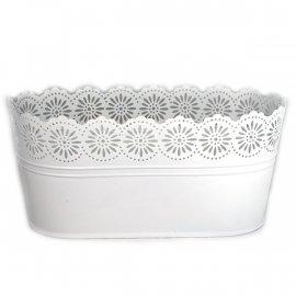 Osłonka biała metalowa do kwiatów doniczka ażurowa 13x27