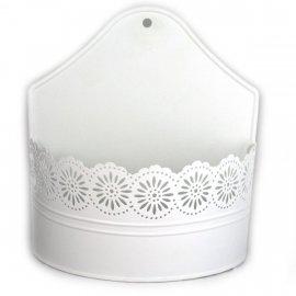 Osłonka biała metalowa do kwiatów doniczka ażurowa 22x20