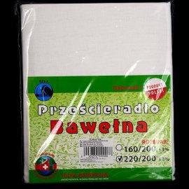 Prześcieradło Bawełna Białe 220x200