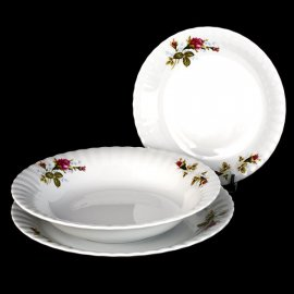 Kpl. talerzy obiadowych Iwona z różą B026 6/18 Chodzież