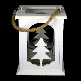 Latarnia biała choinka wisząca/stojąca Kesi 16x20cm lampion