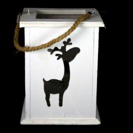 Lampion Renifer biały wisząca/stojąca Kesi 17x22cm