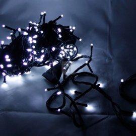 Lampki choinkowe 100 LED Białe zimna biel stałe
