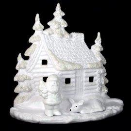 Domek biały brokat 24 cm na świeczkę