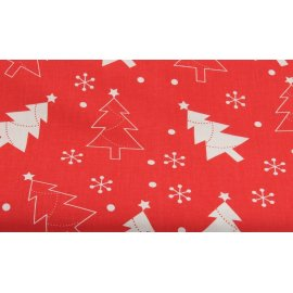 Obrus świąteczny czerwony w choinki 1,3x2,03m bawełna