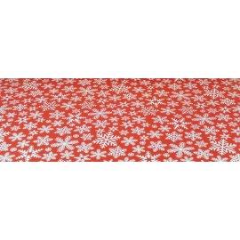 Bieżnik świąteczny czerwony z białymi  płatkami śniegu 0,5x2,03m