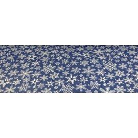 Obrus świąteczny niebieski z białymi  płatkami śniegu 1,3x2,03m