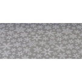 Obrus świąteczny szary z białymi  płatkami śniegu 1,3x2,03m