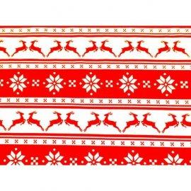 Bieżnik świąteczny czerwony w renifery 0,48x2,03m bawełna