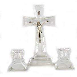 Kryształowy komplet Kolędowy krzyż 2 świeczniki