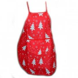 Fartuszek dziecięcy kuchenny czerwony z choinkami