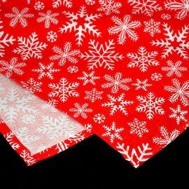 Obrus świąteczny czerwony z białymi płatkami śniegu 1,3x2,03m