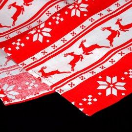 Obrus świąteczny czerwony w renifery 1,3x2,03m bawełna
