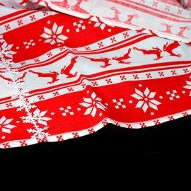 Obrus świąteczny czerwony w renifery 55 x 92 cm bawełna