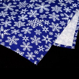 Bieżnik świąteczny niebieski z białymi płatkami śniegu 0,5x2,03m