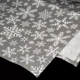 Bieżnik świąteczny szary z białymi płatkami śniegu 0,57 x 1m