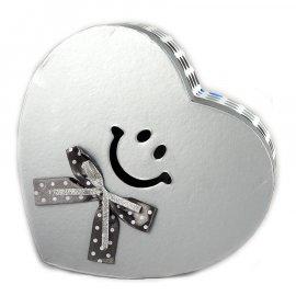Pudełko Serce Szare kropeczki Smile 22,5x19x10,5 cm