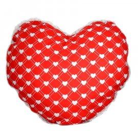 Poduszka dekoracyjna serce z koronką WALENTYNKI