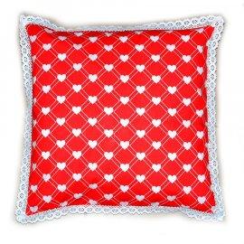 Poduszka dekoracyjna serca z koronką WALENTYNKI