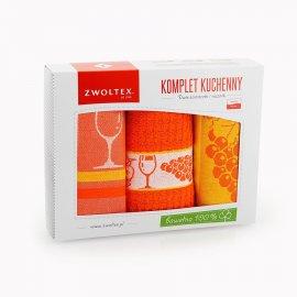 Kpl. ścierek kuchennych w pudełku WINOGRONO POMARAŃCZ Zwoltex
