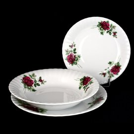 Kpl. talerzy obiadowych Iwona z różą B826 6/18 Chodzież