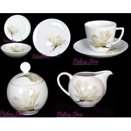Serwis 32 części obiad-kawa 6474 magnolia Lubiana NOWOŚĆ