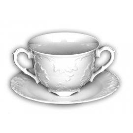 Bulionówka ze spodkiem biała 330 ml Rococo Ćmielów
