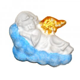 Aniołek ze złotymi skrzydłami na chmurce gipsowa figurka 10 cm