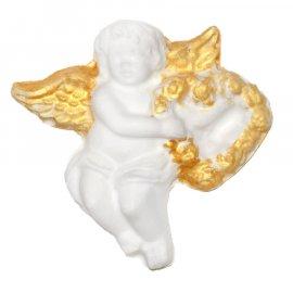 Aniołek ze złotymi skrzydłami i serce figurka 9 cm