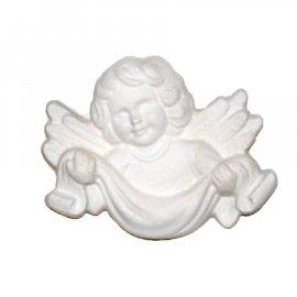 Aniołek ze skrzydłami z szarfą gipsowa figurka 7 cm