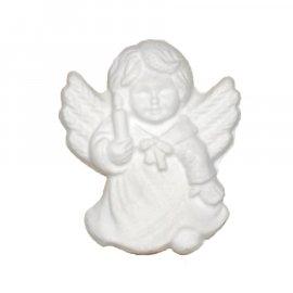Aniołek ze skrzydłami i świecą gipsowa figurka 7 cm