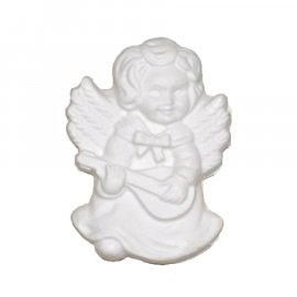 Aniołek ze skrzydłami i gitarą gipsowa figurka 7 cm