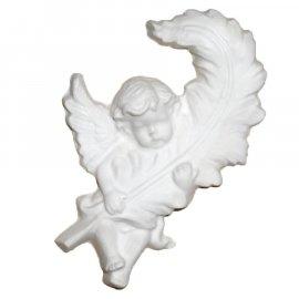 Anioł z piórem gipsowa figurka 13 cm