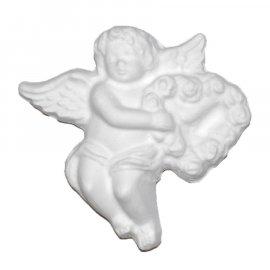 Aniołek z sercem z kwiatów gipsowa figurka 10 cm